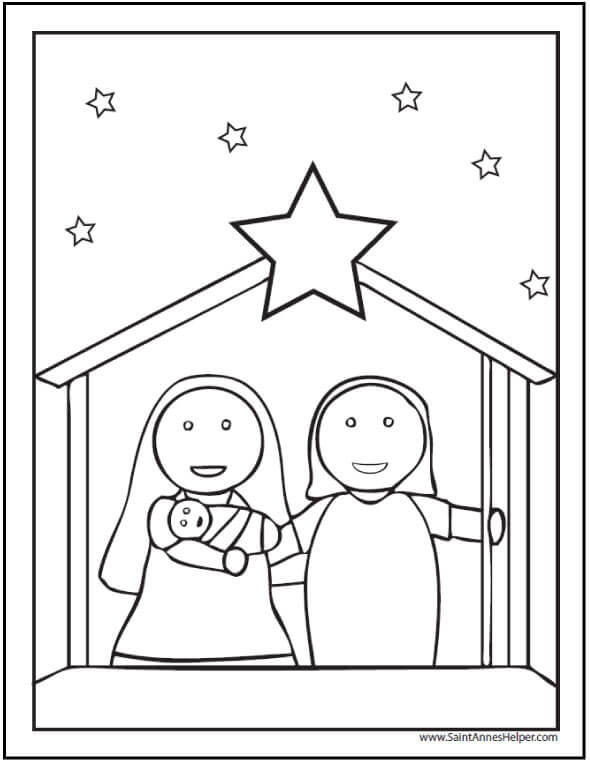 Preschool Nativity Scene Christmas Coloring Page.