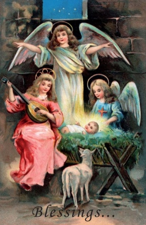 Printable Religious Christmas Cards: Angels and Baby Jesus