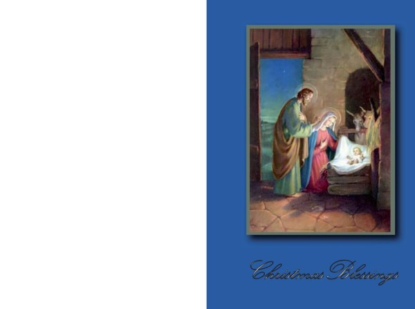 Religious Printable Christmas Cards: The Holy Family at Bethlehem.