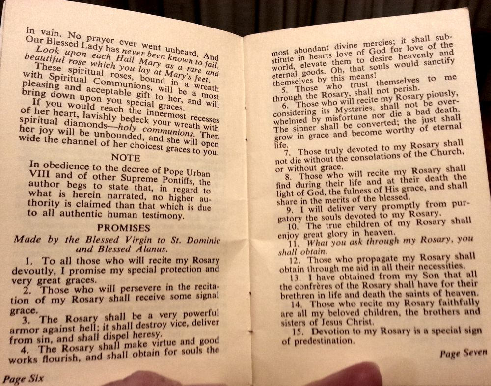 The Fifteen Promises of the Rosary Words