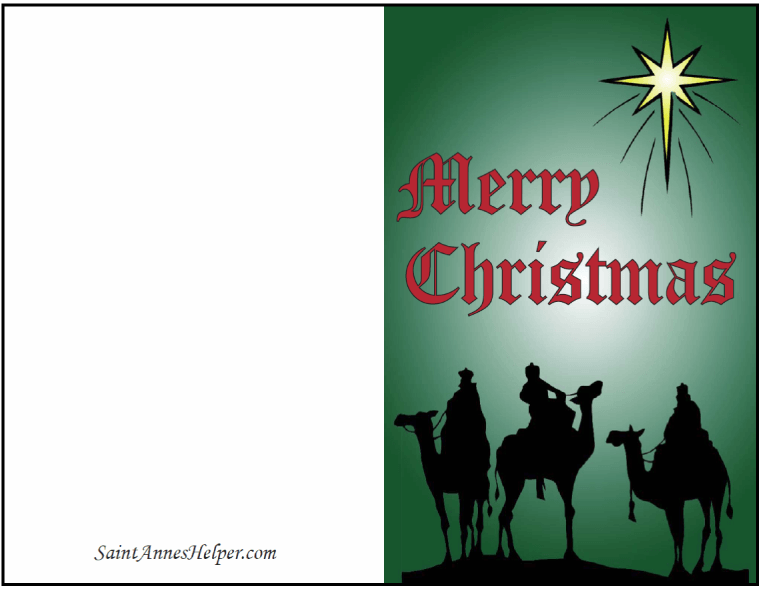 Printable Religious Christmas Card: Merry Christmas - Red and Green!