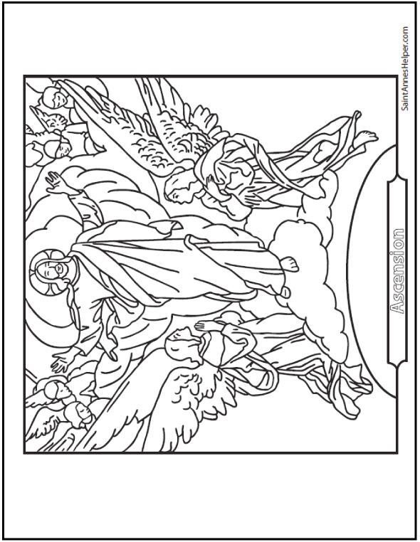 Jesus Ascension Coloring Page: Jesus rising with adoring angels.