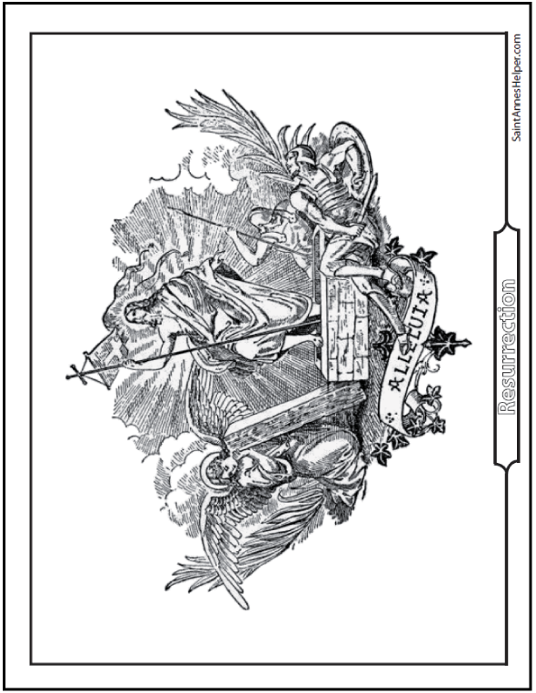 Religious Easter Coloring Page. Resurrection. Easter and First Glorious Mystery.