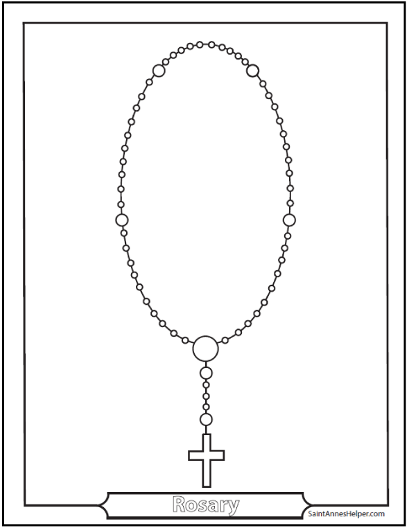 Rosary Coloring Pages: Pictures of Jesus and Mary's lives, rosaries, praying children.