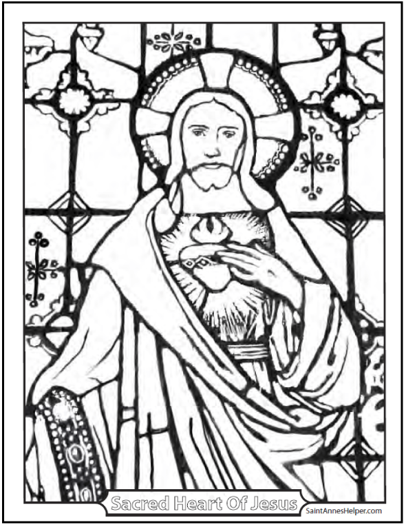 Sacred Heart of Jesus stained glass coloring