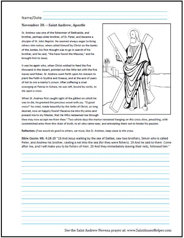 Catholic Worksheets: Saint Andrew the Apostle Worksheet