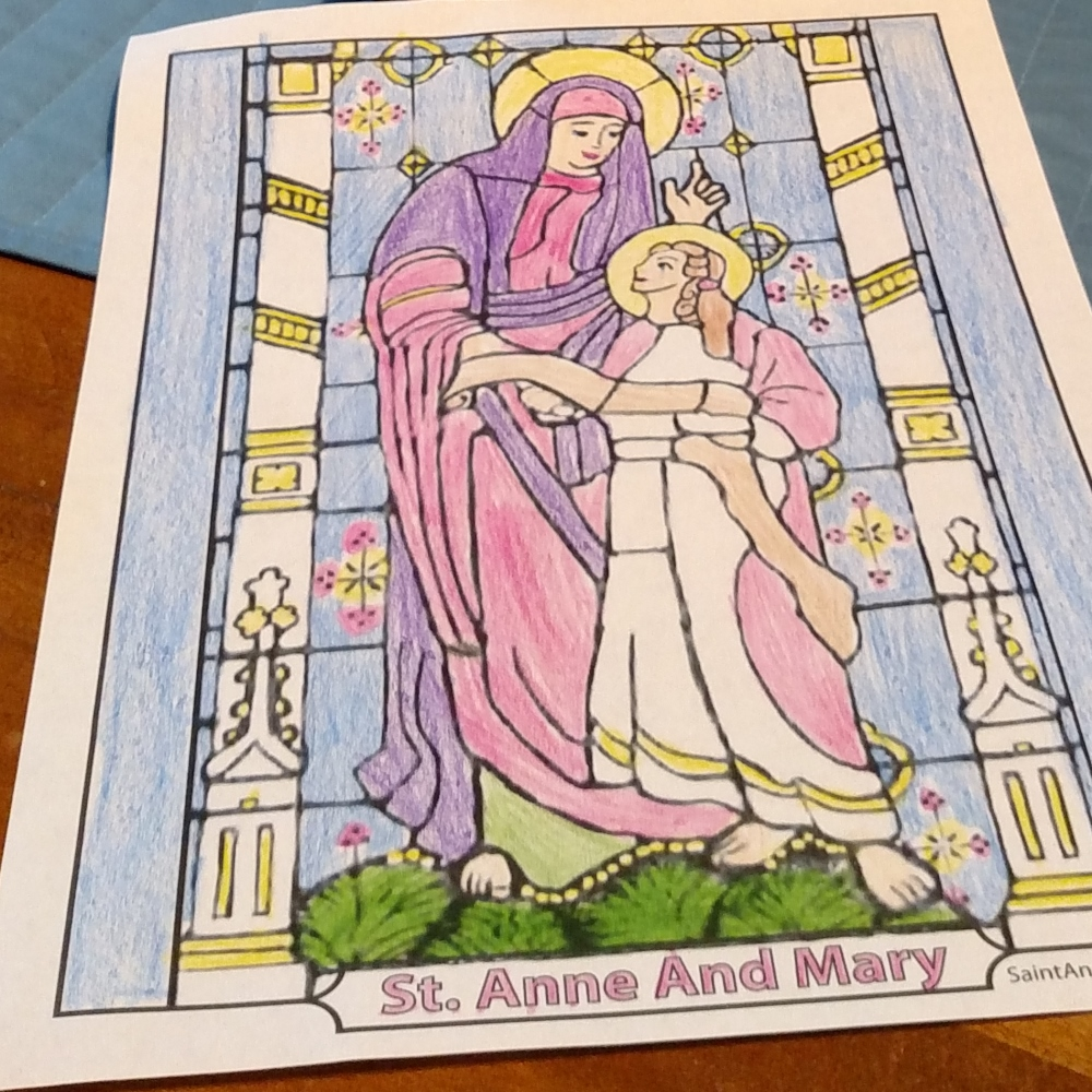 Saint Anne coloring page with Mary. July 26.