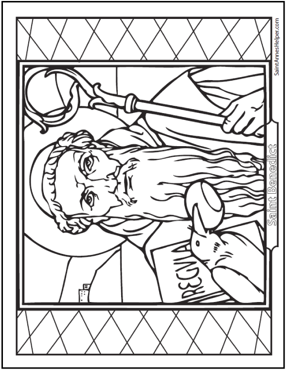 Saint Benedict coloring page: Raven with bread, rule, crozier.