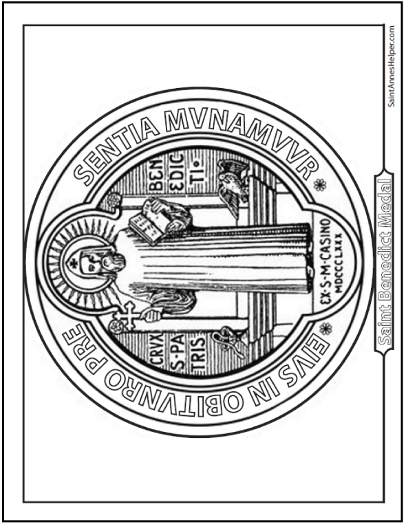 Saint Benedict medal coloring page, front with him standing with his Rule and Cross.
