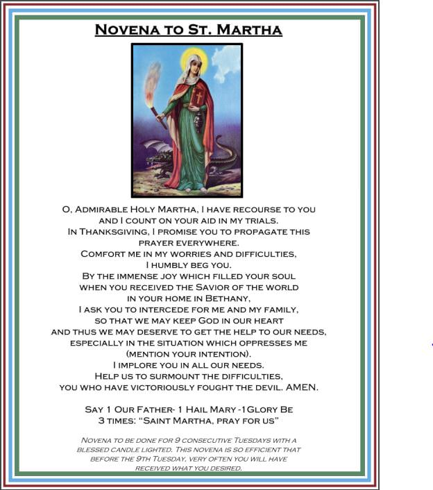 image about Printable Prayer to St. Joseph referred to as Saint Martha Novena, Biography, Printable Prayer Card