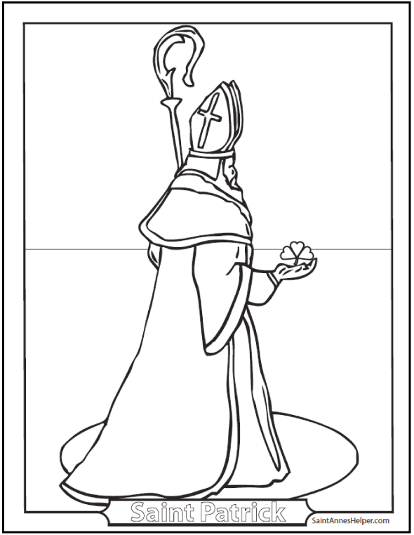 Saint Patrick Coloring Page: Bishop with crozier and shamrock.