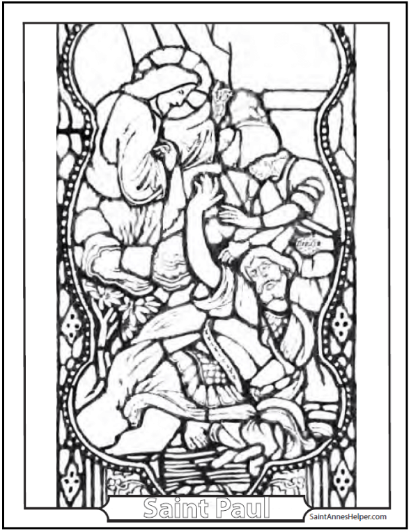 Saint Paul And Jesus Stained Glass Coloring Page