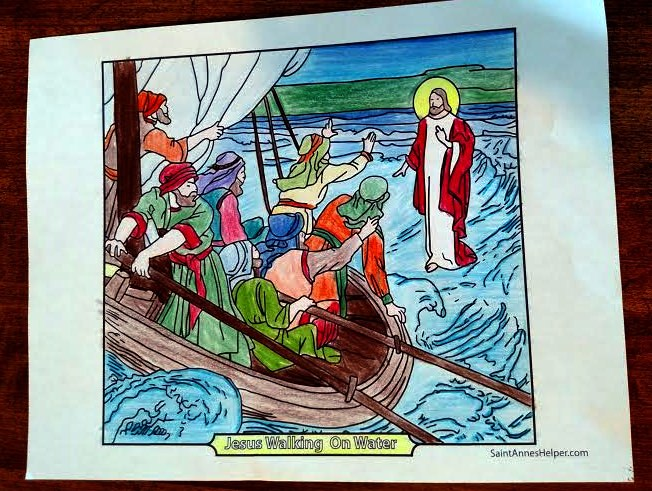 Printable Saint Peter Coloring Page: Where Peter goes to Jesus walking on the water.