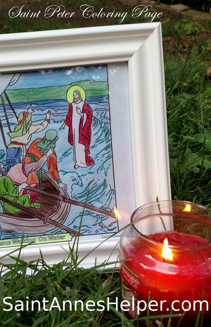 Saint Peter Coloring Page: Jesus walking on the water.