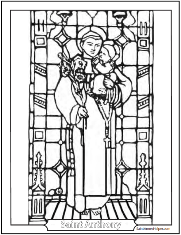 Coloring Saint Anthony Stained Glass - Catholic Saints Coloring Pages