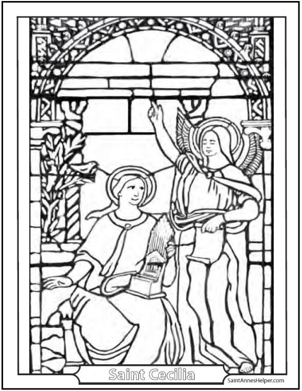 Saint Cecilia coloring page. She has a tiny organ and looking at an angel.