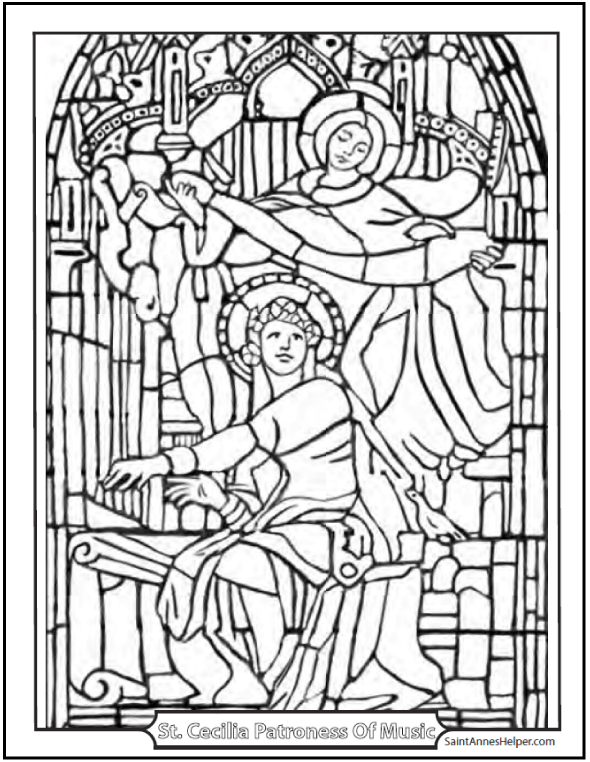 Saint Cecilia coloring sheet. She's playing an organ and looking at her Guardian Angel.