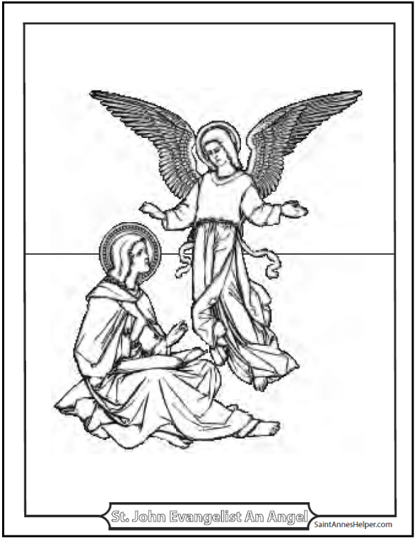 Saint John the Apostle Coloring Page: St. John the Evangelist and Angel