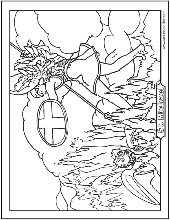 This is a cool coloring page of the Archangel Michael with sword and shield slaying the devil. Hell fire, too!