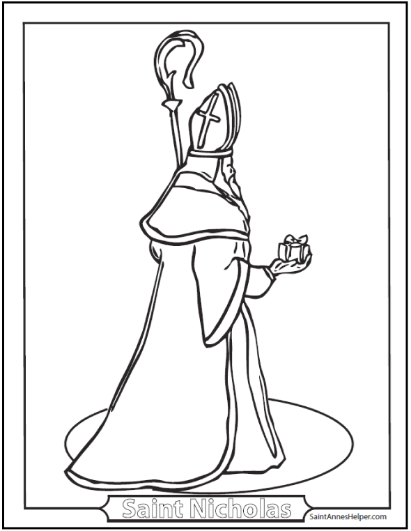 Coloring Saint Nicholas, Bishop - Catholic Saints Coloring Page