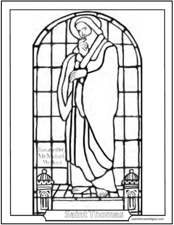 Coloring Saint Thomas Apostle - Catholic Saints Coloring Page
