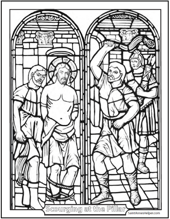 Scourging of Jesus Coloring Sheet - Second Sorrowful Mystery of the Rosary coloring pages.