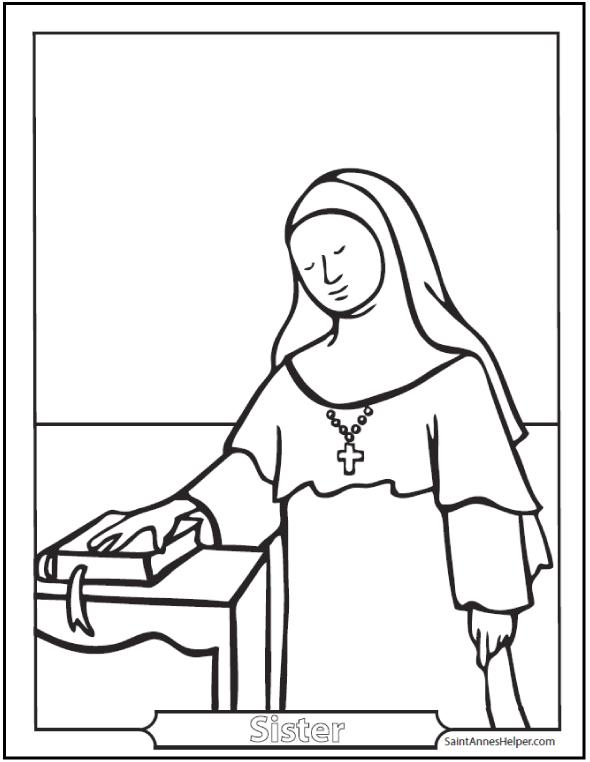 Nun Coloring Page Benedictine Carmelite Dominican