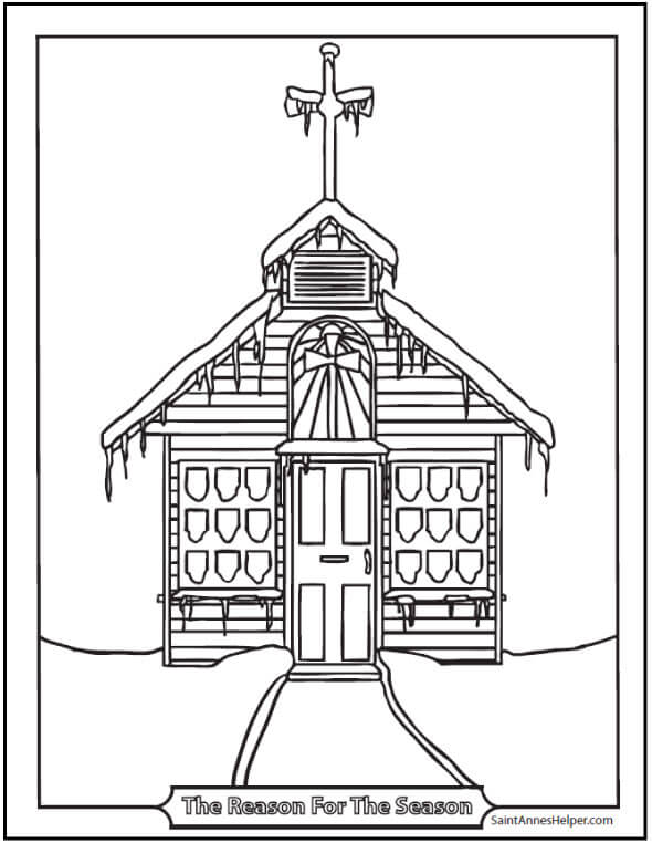 Printable Christmas Coloring Page: Snowy Church with icicles.