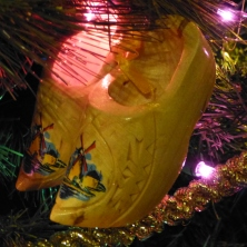 Souvenir Christmas Ornaments Wooden Shoes from Pella, Iowa