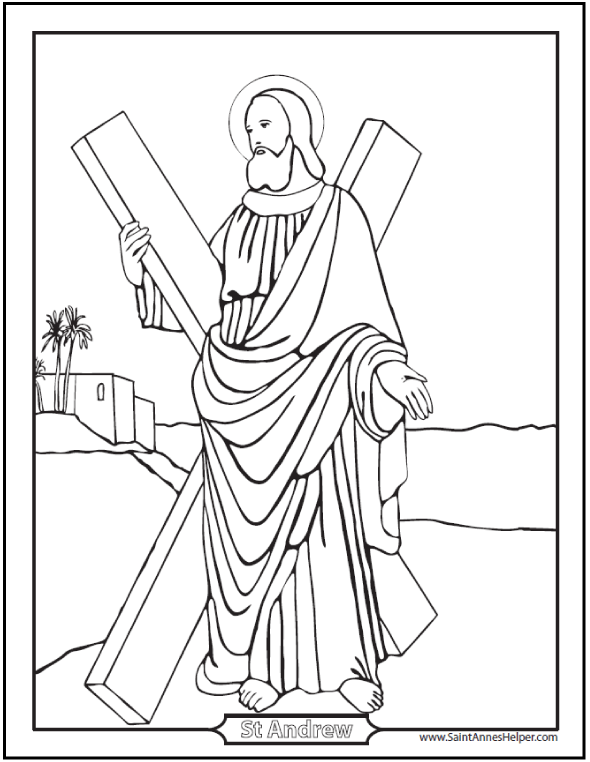 Saint Andrew The Apostle Coloring Page, worksheet, and prayer.