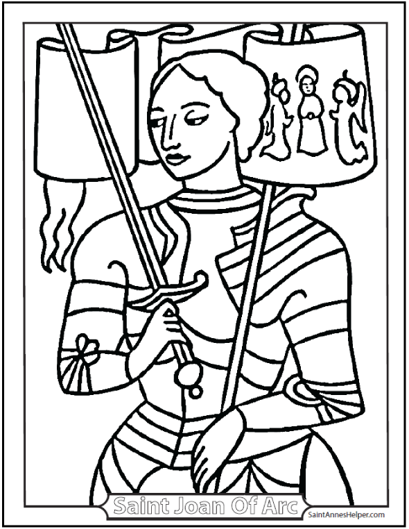 Saint Joan of Arc Coloring Page: Shows a picture of St. Joan with her banner, sword, and armor.