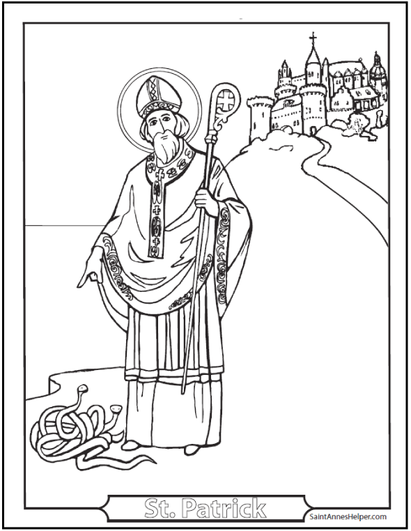 Saint Patrick's Day Coloring Pages: Glorious St. Patrick Coloring Page! St. Patrick, pray for us! #SaintAnnesHelper #CatholicHomeschool #CatholicCatechism #CatholicColoringPages