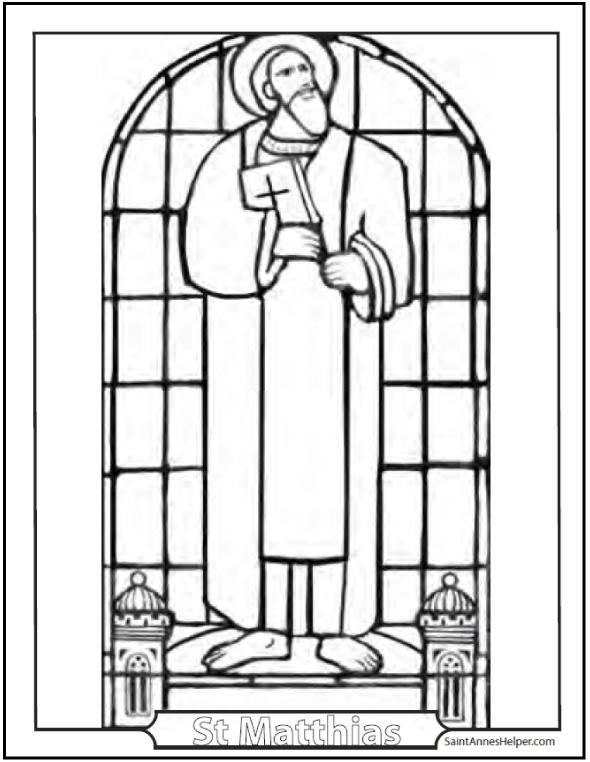 Saint Matthias The Apostle Coloring Page: The Apostles elected Judas' replacement.