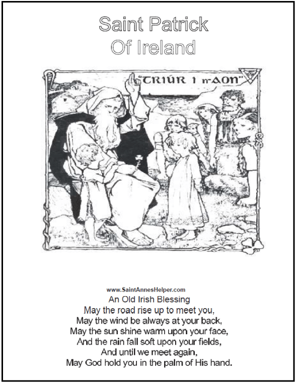 four pages two saint patrick coloring pages with the irish blessing and copy worksheets - St Patrick Coloring Page Catholic