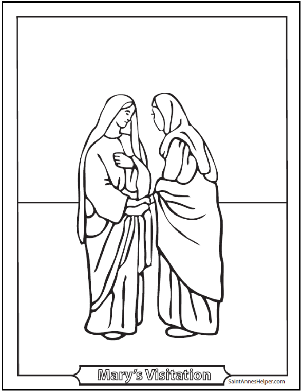 Visitation of Mary Coloring Pages. Second Joyful Mystery of the Rosary.