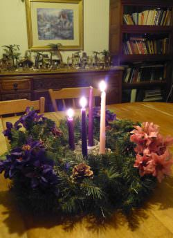 Third Sunday Of Advent - Light two purple candles and one rose candle.