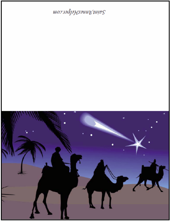 Three Kings Christmas Card - The Magi following the Star.