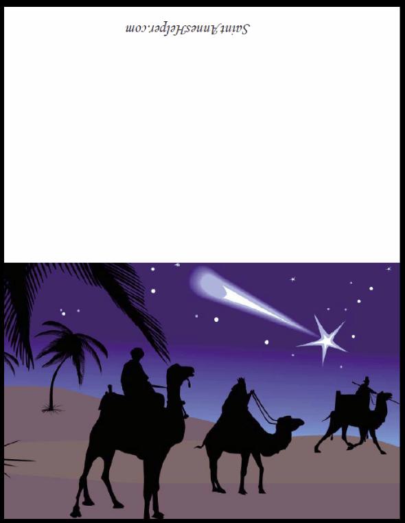 Three Kings Christmas Card - The Magi following the Star.
