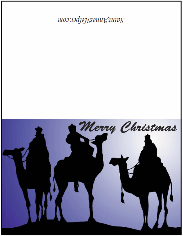 Printable Religious Christmas Cards: We Three Kings of Orient Are....
