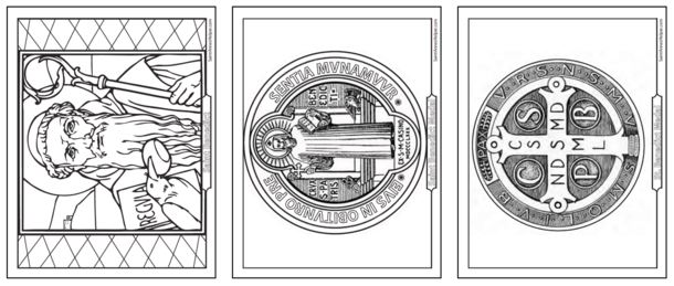 Three Saint Benedict Coloring Pages with quotes, history and Bible stories.