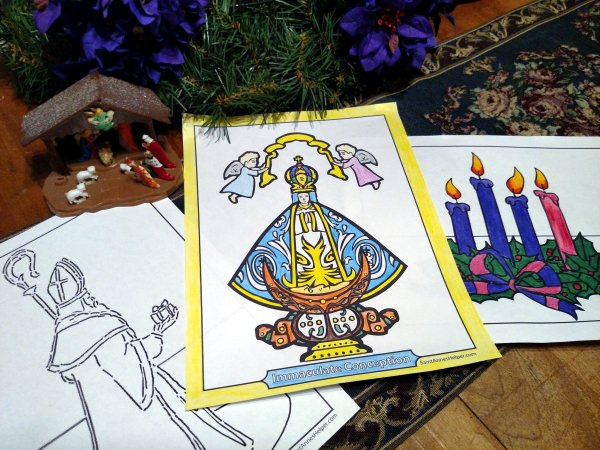 Immaculate Conception Coloring Page - Happy feast Day!
