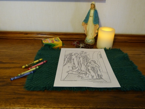Rosary Coloring Pages: The Angel Declared Unto Mary - Annunciation Coloring Patge