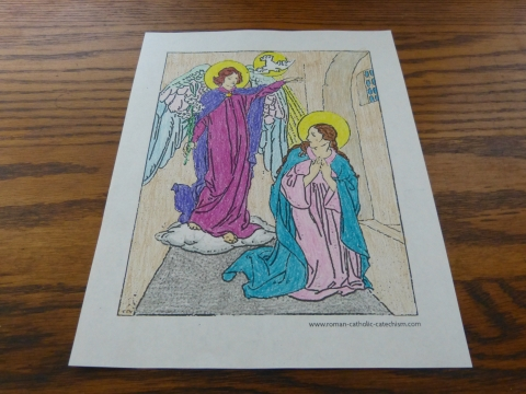 Annunciation - The Angel Declared Unto Mary - Coloring Page for teaching the Rosary. Rosary Coloring Pages.