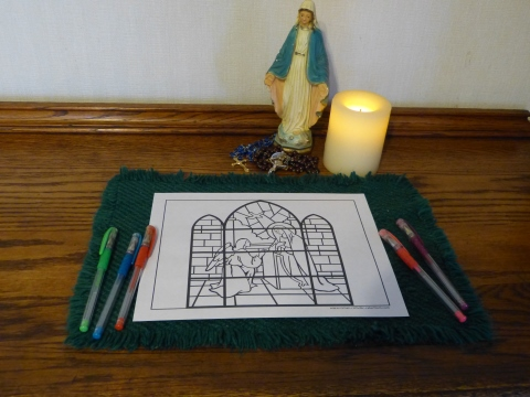 Annunciation Rosary Coloring Pages - Incarnation, Joyful Mysteries of the Rosary
