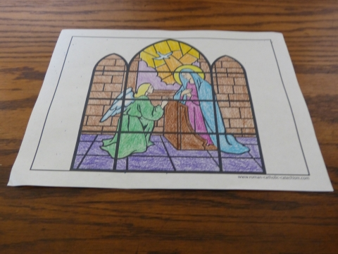 The Angel Declared Unto Mary - Annunciation Rosary Coloring Pages