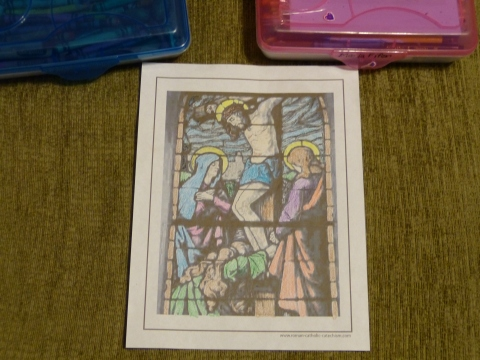 At The Foot Of The Cross coloring page. Jesus, Mary, John, and Mary Magdalen