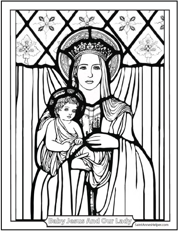 Beautiful coloring page of Baby Jesus and Mary. Great for teaching the Hail Mary and the Rosary.