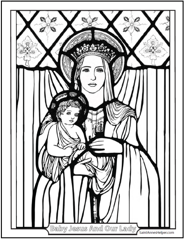 Maternity of the Blessed Virgin Mary: Baby Jesus and Mary coloring page. Stained glass coloring sheet.