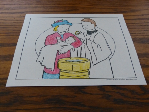 Baptism Coloring Page to Print: At The Font