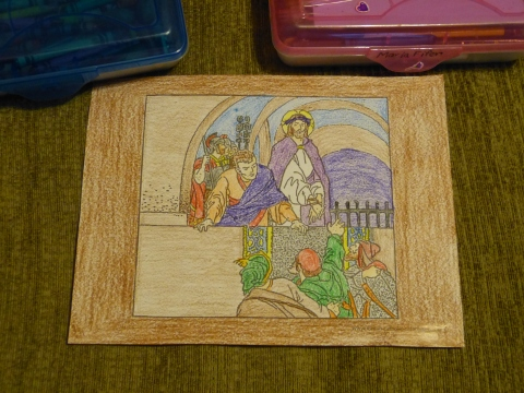 Lent Coloring Pages - Behold The Man, Pontius Pilate with Jesus Christ